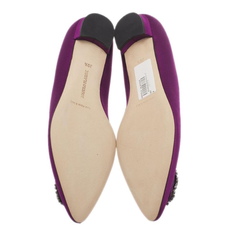 Manolo Blahnik Purple Satin Hangisi Ballet Flats Size 39.5