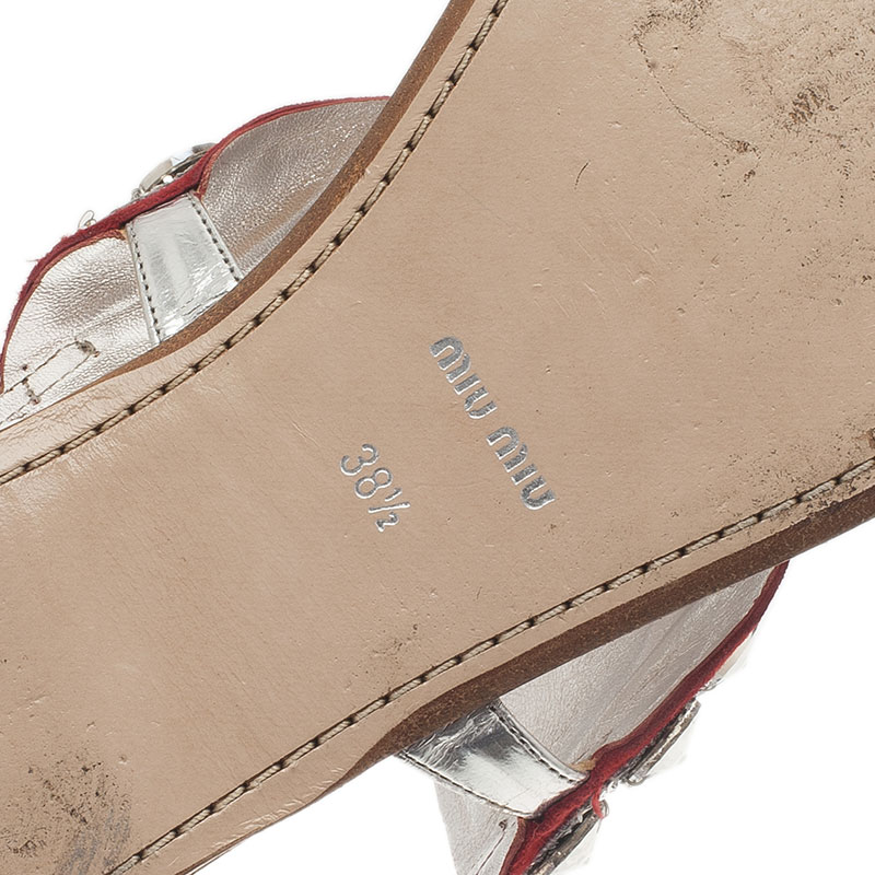 Miu Miu Silver Metallic Leather Glitter Heart Flat Sandals Size 38.5