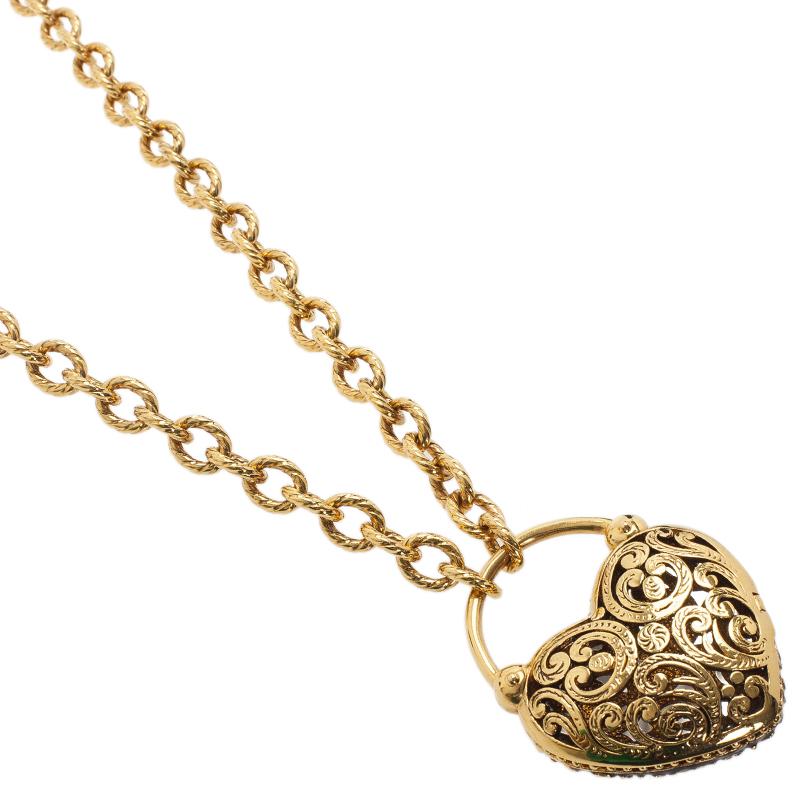 Roberto Cavalli Pink Stone Heart Gold Tone Pendant Necklace