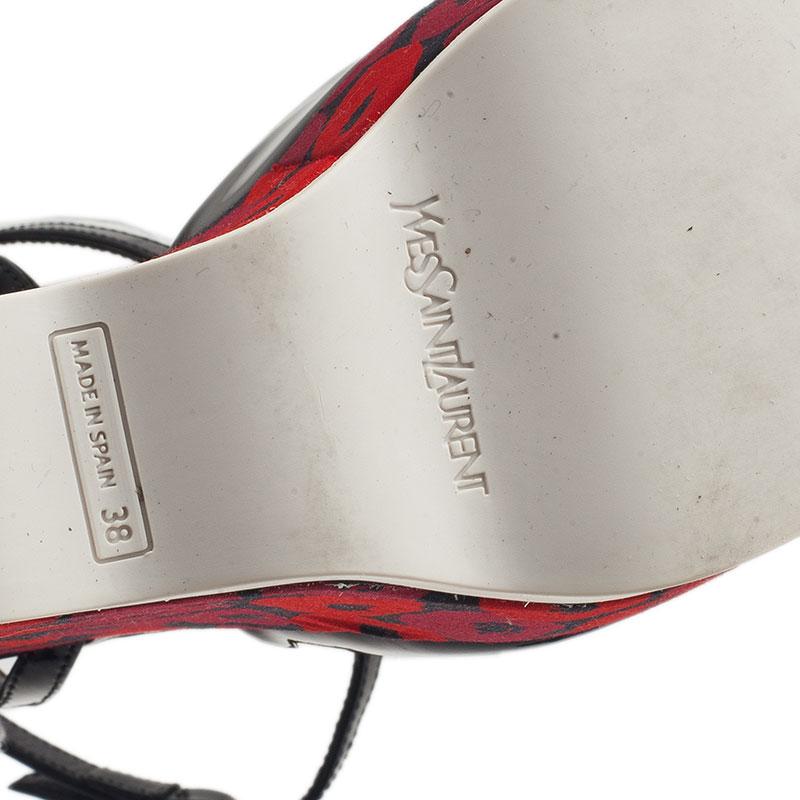 Saint Laurent Paris Black Patent Poppy Lips Ankle Strap Wedges Size 38