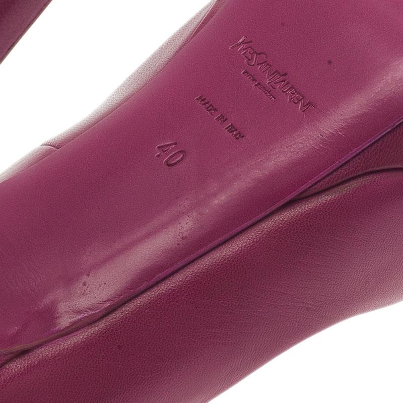 Saint Laurent Paris Pink Leather Palais Platform Pumps Size 40