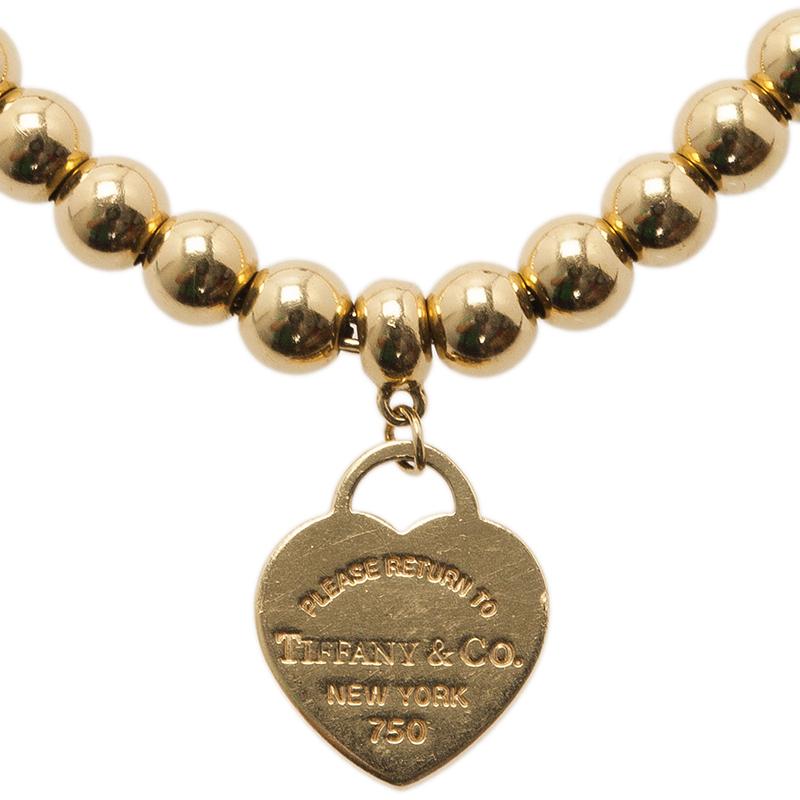 Tiffany & Co. Return To Tiffany Mini Heart Tag 1Yellow Gold Bead Bracelet