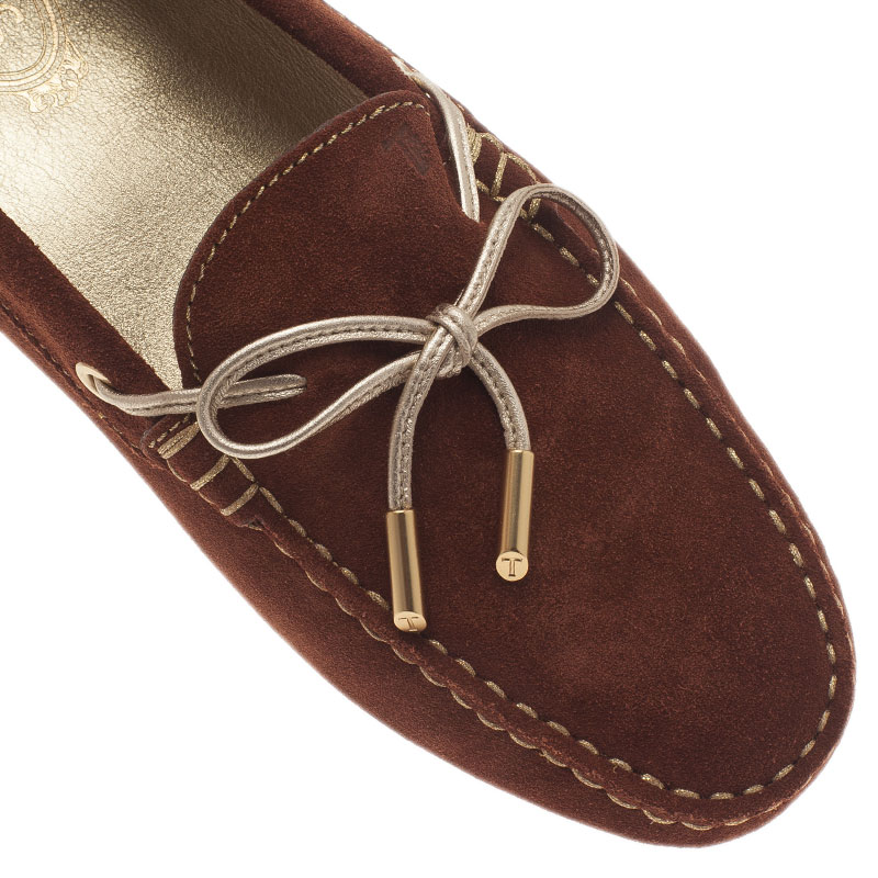 Tod's Brown Suede Bow Loafers Size 40