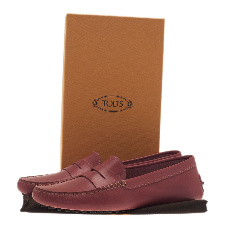 Tod's Pink Leather Penny Loafers Size 41
