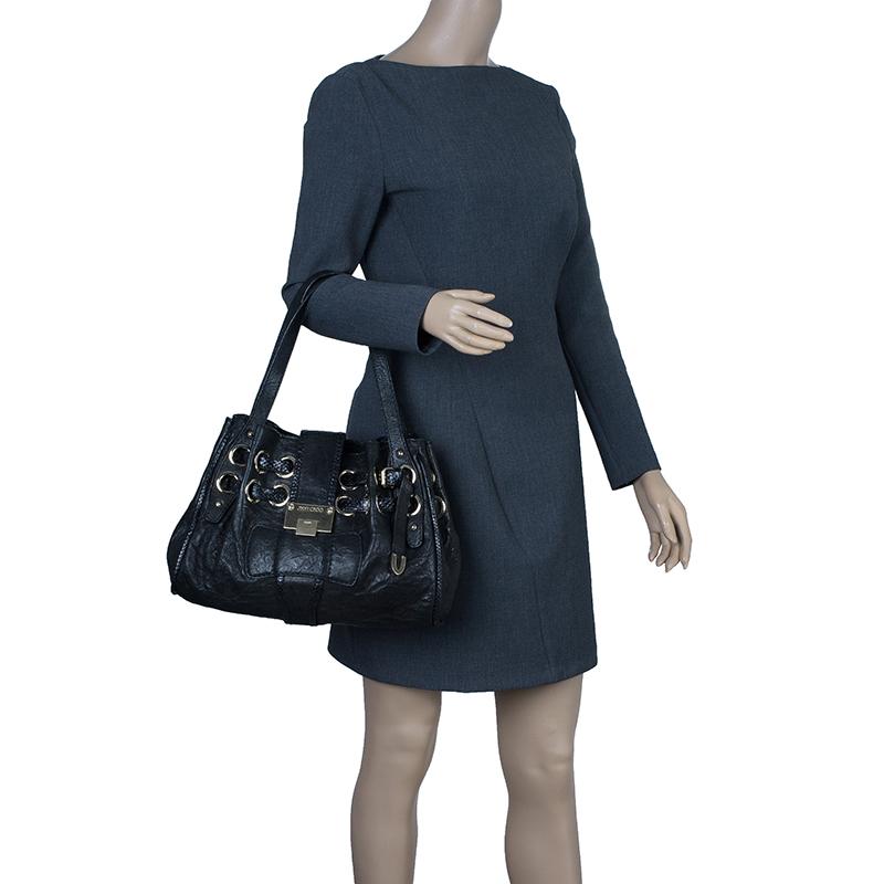 Jimmy Choo Black Leather Python Trim Riki Stamped Shoulder Bag