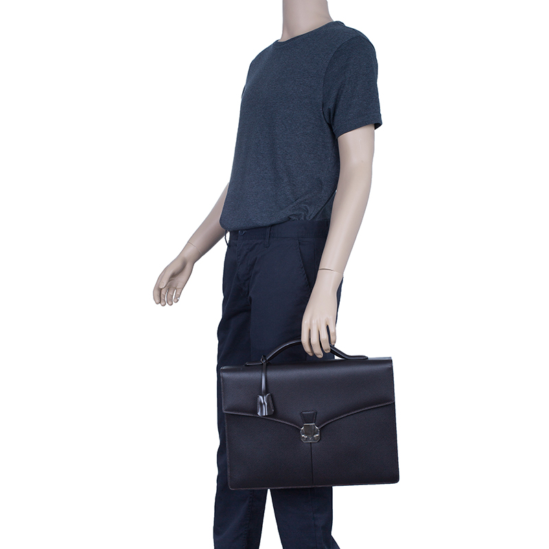 Dunhill Black Leather Confidential Briefcase