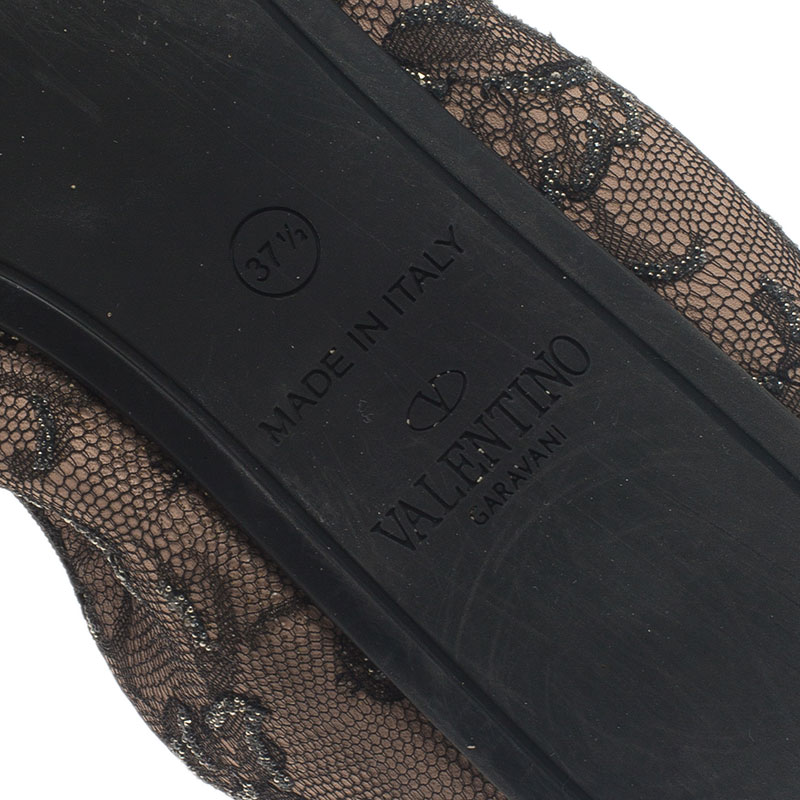 Valentino Black and Blush Lace Scrunch Ballet Flats Size 37.5