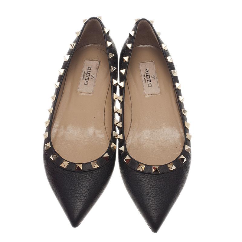 Valentino Black Leather Rockstud Ballet Flats Size 37.5
