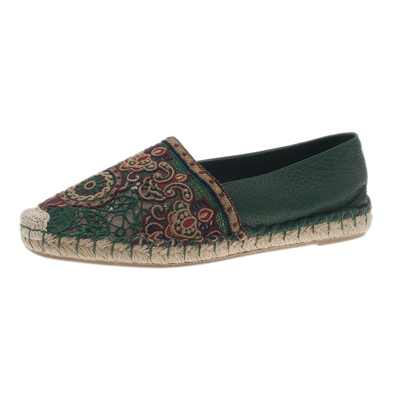 Valentino Green Embroidered Leather Espadrilles Size 38